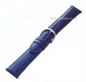 Blue leather watch strap