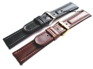 Triple padded leather watch strap