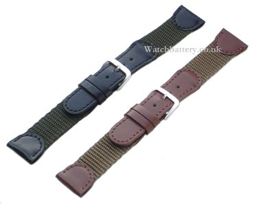 Nylon and leather watch strap